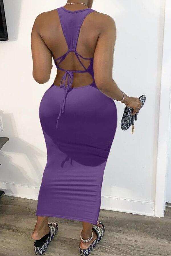 Lovely Stylish Tie-dye Purple Ankle Length Dress