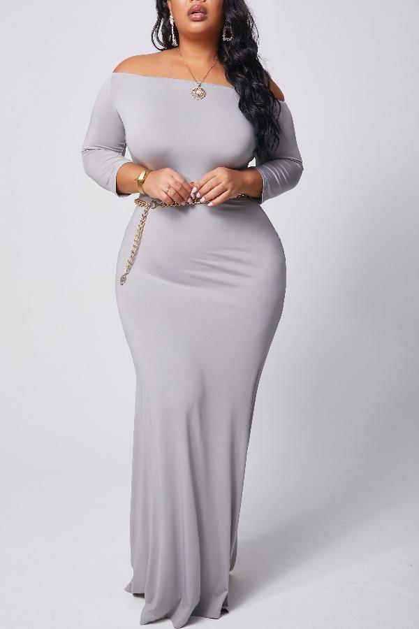 lovely Bohemian Dew Shoulder Grey Maxi Plus Size Dress