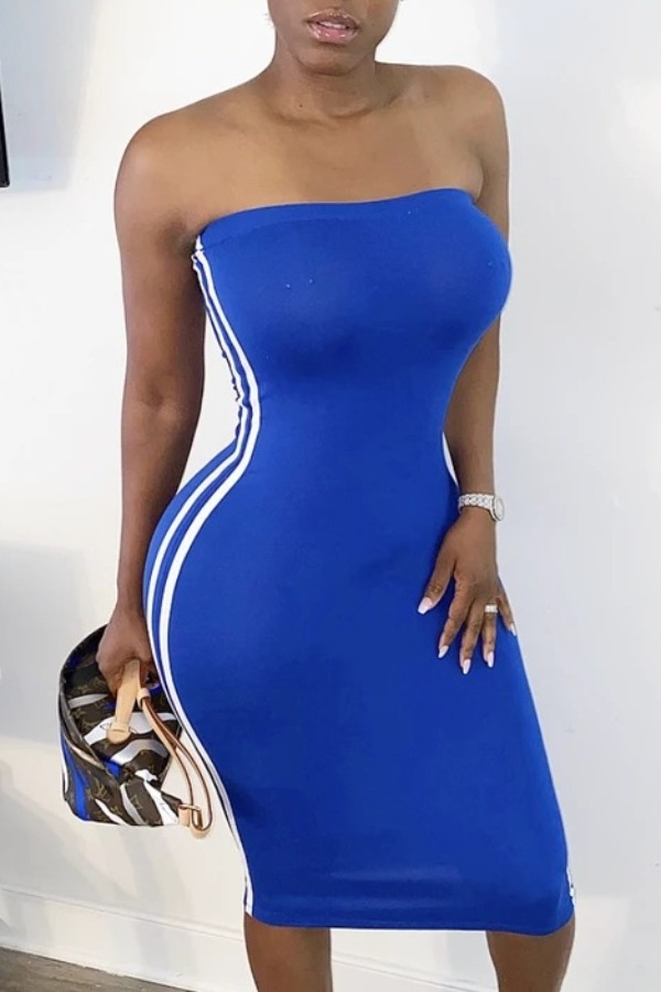 lovely Sportswear Dew Shoulder Patchwork Blue Knee Length Dress
