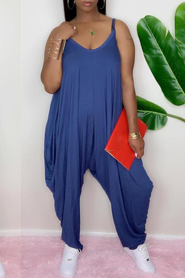 lovely Leisure Fold Design Loose Blue One-piece Jumpsuit
