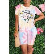 lovely Casual Tie-dye Floral Print Pink Two-piece