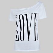 Lovely Casual Letter Print White T-shirt