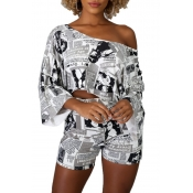 lovely Casual One Shoulder Print White Two-piece S