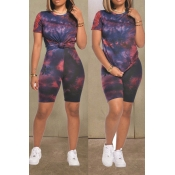 lovely Casual O Neck Tie-dye Print Black Two-piece