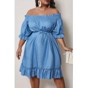 lovely Casual Half Sleeve Flounce Design Blue Deni