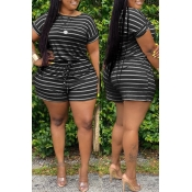 lovely Casual Striped Black Plus Size Two-piece Sh