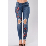 lovely Casual High-waisted Embroidery Design Blue