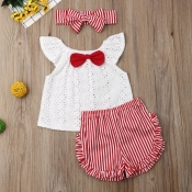 lovely Sweet Striped White Girl Two-piece Shorts S