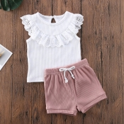 lovely Casual Lace-up White Girl Two-piece Shorts