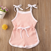 lovely Sportswear Lace-up Pink Girl One-piece Romp