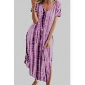 lovely Casual V Neck Tie-dye Purple Ankle Length P