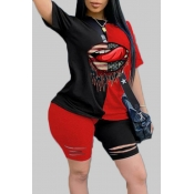 lovely Sportswear Print Patchwork Black Plus Size