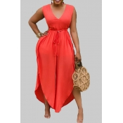 lovely Casual Lace-upl Loose Orange Plus Size One-