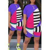 Lovely Leisure Color-lump Patchwork Purple Two-piece Shorts Set