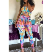 lovely Casual Tie-dye Multicolor Two-piece Pants S