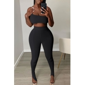 lovely Sexy One Shoulder Black Two-piece Pants Set