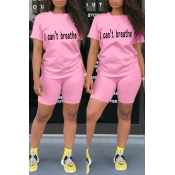 lovely Casual O Neck Letter Print Pink Two-piece S