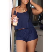 lovely Casual Spaghetti Strap Dark Blue Two-piece