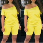 lovely Casual Off The Shoulder Yellow Two-piece Shorts Set
