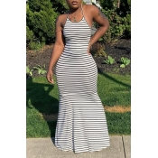 lovely Sexy Striped Print Backless Black-white Maxi Dress