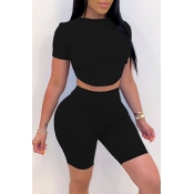 lovely Leisure O Neck Black Two-piece Shorts Set