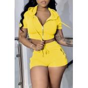 lovely Sportswear Zipper Design Yellow Two-piece S