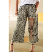 lovely Leisure Leopard Print Hollow-out Pants
