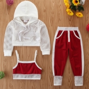 Lovely Casual Hooded Collar Patchwork Red Girl Two
