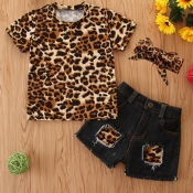 lovely Casual Leopard Print Patchwork Girl Two-pie