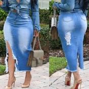 lovely Casual Broken Holes Blue Denim Skirts