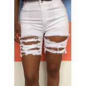 lovely Casual Broken Holes White Denim Shorts