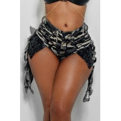 lovely Trendy Sequined Army Green Denim Shorts