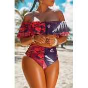 lovely High-waisted Print Patchwork Wine Red Two-p