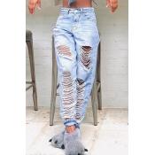 lovely Casual Broken Holes Babyblue Jeans