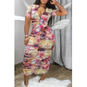 Lovely Casual V Neck Tie-dye Pink Ankle Length Dress