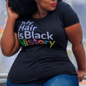 lovely Casual Letter Print Black Plus Size T-shirt