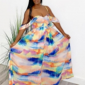 lovely Sexy Off The Shoulder Print Multicolor Maxi