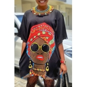 lovely Casual O Neck Print Black Mini A Line Dress