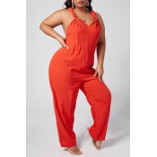 Lovely Leisure Loose CrociPlus Size One-piece Jumpsuit