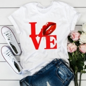 lovely Leisure O Neck Letter Print Bright Red T-sh
