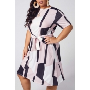 lovely Casual Print Black Ankle Length Plus Size D