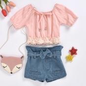 lovely Stylish Lace Hem Pink Girl Two-piece Shorts
