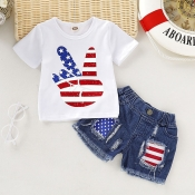 lovely Independence Day Casual Print White Girl Tw