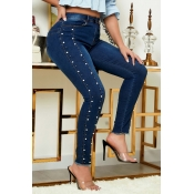 Lovely Casual Pearl Decoration Blue Jeans