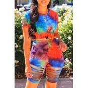 lovely Street Tie-dye JacinthTwo-piece Shorts Set