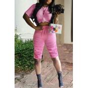 lovely Sportswear Fold Design Pink Two-piece Short