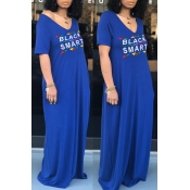 lovely Casual V Neck Letter Print Blue Maxi Dress