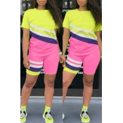 lovely Leisure Color-lump Patchwork Pink Two-piece