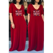 lovely Casual V Neck Letter Print Red Maxi Dress