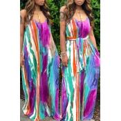 lovely Bohemian Tie-dye Purple Maxi Dress
